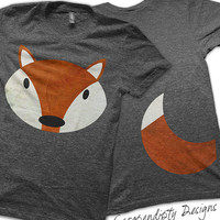 Iron on Fox Shirt PDF - Fox Tail Iron on Transfer / Red Fox Kids Shirt / Fox and Tail Adult Tshirt / Funny Baby Clothes / Halloween Costume