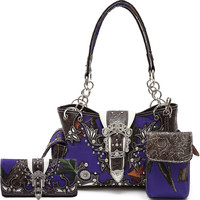 Purple Camo Cowgirl Trendy Purse and Wallet Set