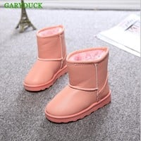 GARYDUCK 2017 Winter Children Shoes PU Leather Waterproof Boots Natural Fiber Slip Kids Snow Boots Brand Girls Boys Rubber Boots