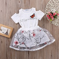 Short Sleeve Hollow Out T-Shirt with Floral Skirt