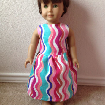 Summertime Wavy Stripes Dress: fits American Girl and most 18 in dolls