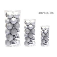 24 PCS 8cm Silver Modern Shiny Christmas Tree Ball Baubles Party Wedding Hanging Ornament Christmas Decoration Supplies