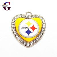 Pittsburgh Steelers Football Team Crystal Glass Heart Sports Hanging Dangle Charms DIY Women Bracelet Necklace Jewelry Accessory