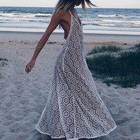 Backless Halter Maxi Long Beach Lace Dresses