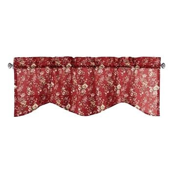 Tache Cotton Burgundy Floral Sheer Scalloped Window Treatment Fairy Tale Tea Party Valance (DXJ103443)
