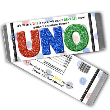 Uno Birthday Party Favors - 1st Birthday Candy Wrapper - Uno Party Favor - First Birthday Candy Buffet - Uno Party Decorations