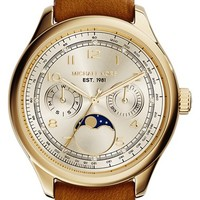 Women's Michael Kors 'Amelia' Moon Phase Leather Strap Watch, 38mm