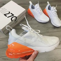 NIKE AIR MAX270 Pure white fluorescent yellow air cushion running shoes