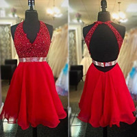 short Prom Dress,red Prom Dress,backess Prom Dress,party dress for girls,,homecoming dress,PD339