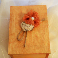 Wooden Trinket Box with Rustic Floral Embellishment; Wooden Memory Box; Custom Wooden Box; Personalized Wooden Box
