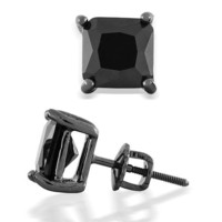 Bling Jewelry Black Simulated Onyx CZ Square 925 Sterling Silver Screw Back Post Studs 8mm