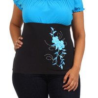 Flower Print Ruffled Top - Turquoise - Plus Size - 1x - 2x - 3x