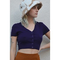 St. Catherine S/S Cropped Knit Vneck Cardigan - Orchid