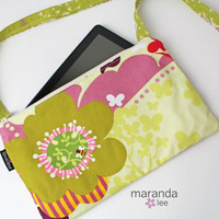 Zippered Cross Body Messenger - iPad Kindle Tablet bag - READY to SHIP -Momo Flowers Lime Pink- Medium Purse Girls Purse Bag