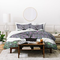 Belle13 Abstract Tree And Hedgehog Duvet Cover