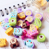 10 pcs pack Novelty Cartoon Characters Eraser Rubber Eraser Primary Student Prizes Promotional Gift Stationery