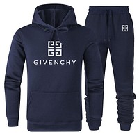 GIVENCHY Fashion Men Women Warm Hooded Top Sweater Pants Set Two-Piece Sportswear Navy Blue