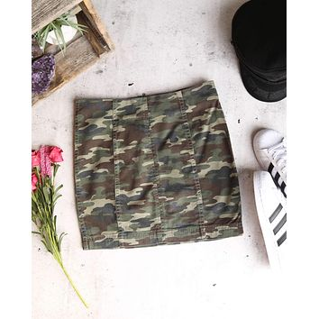 Free People - Modern Femme Novelty Mini Denim Skirt in Camo Green