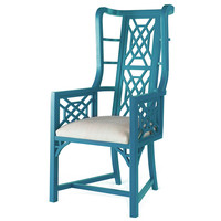 Taylor Burke Home, Kings Grant Chair, Teal/Snow, Wingbacks