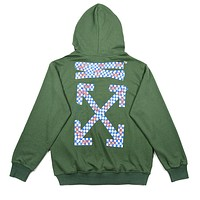OFF-WHITE Tide brand men's and women's loose wild hooded sweater green
