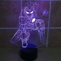 12 inch 7 color changing iron man 3d lamp #marvel ...