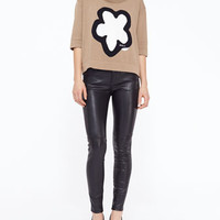 Flower Knit Cropped Sweater, Sand