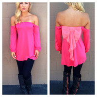 Hot Pink Off Shoulder Pink Bow Long Sleeve Top