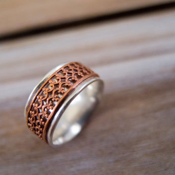 Spinner Ring,  Spinner Ring Women, Fidget Ring, Boho Jewelry, Sterling Silver, Worry Ring, Crown Wire, Copper Spinner, Spinning Ring