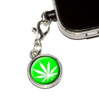 Graphics and More Marijuana Pot Weed Leaf - Green Anti-Dust Plug Universal Fit 3.5mm Earphone Headset Jack Charm for Mobile Phones - 1 Pack - Non-Retail Packaging - Antiqued Silver