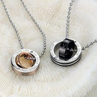 His or Hers Matching Set Titanium Couple Pendant Necklace Share Love and Dream Ring to Your Heart Korean Love Style in a Gift Box