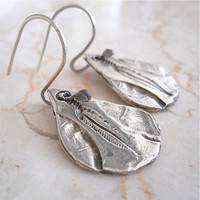 "Eco Friendly Silver ""Fossil"" Earrings, Boho Style Earthy Fashion Accessory, Hand Carved, Feather,"