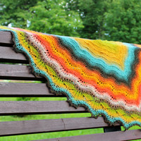 Multicolor triangle lace shawl, pure wool, hand knit shawl, ready to ship