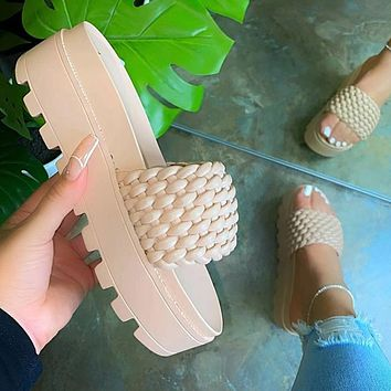 Women's Slippers Thick Bottom Ladies Slides Platform Weaved Fashion Female Non Slip Beach Footwear Woman