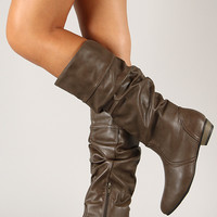 Bamboo Dita-01 Slouchy Round Toe Knee High Boot