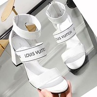 LV Louis Vuitton Trending Women Stylish Princess High Heels High-Heeled Shoes Sandals White I-ALS-XZ