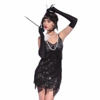 Stunning Stage Dance Fringe Flapper Costume 1920s Great Gatsby Style Sequin Tassel V-Neck Cocktail Latin Party Dress