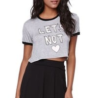 Young Romantics Lets Not Block Crop T-Shirt - Womens Tee - Grey