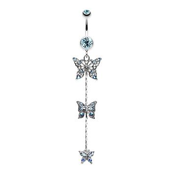Triple Butterfly Sparkle Belly Button Ring