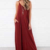 Love You Still V-Neck Maxi Dress (Fired Brick)
