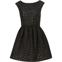 TOPSHOP Black Embroidered Prom Dress