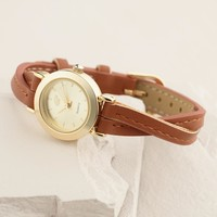 Brown Twisted Leather Watch