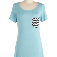 ModCloth Long Short Sleeves Flawless Pizzazz Tunic in Robin's Egg