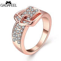 Fashion 18K Gold Vacuum Plated Finger Weeding Rings with AAAA Cubic Zircon Belt Shape Charm Women Fine Jewelry Love Gifts R063 Alternative Measures