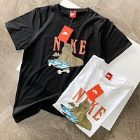 NIKE Summer New Fashion Letter Shoes Print Women Men Top T-Shirt Black