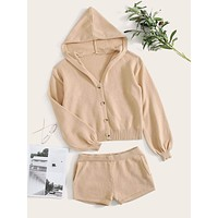Button Through Hooded Knit PJ Set