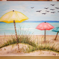 Seascape Beach Wall Art- Coastal Acrylic Painting- Umbrellas on Sand- Key West Decor- 16X20 inches