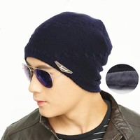 Adofeeno New Winter Hats For Men Beanie Hat with Velvet Warm Hat Men Fashion Autumn Knitted Cap Gorro Bone Bonnet