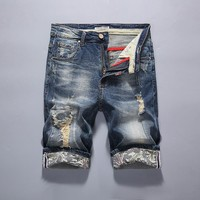 Denim Men Summer Slim Pants Elastic Plus Size Shorts [10699373891]