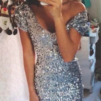 Silver Cap Sleeve V Neck Sequined Bodycon Dress