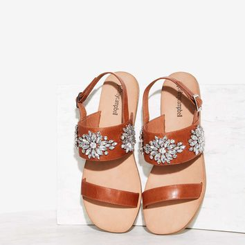 Jeffrey Campbell Dola Jeweled Leather Sandal - Brown